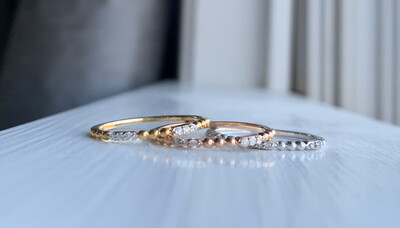 ALJ Signature Beaded Diamond Ring