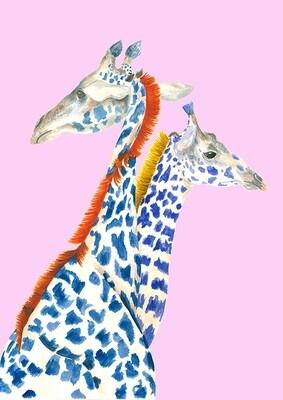 Giraffes illustration print