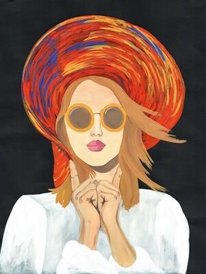 Sunhat Girl illustration print