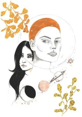 Astronauts illustration print