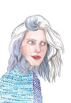 Blue Girl illustratrion print