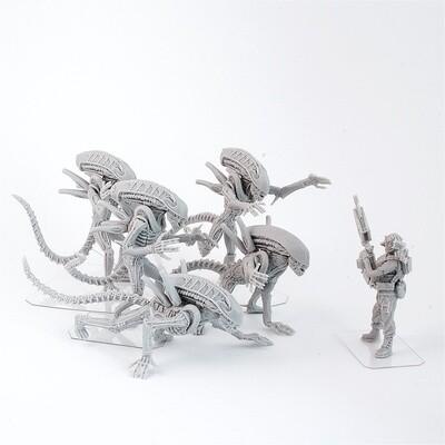 Set of 5 Aliens resin miniatures +free Jenette Vasquez, Aliens movie, by ArmyZone