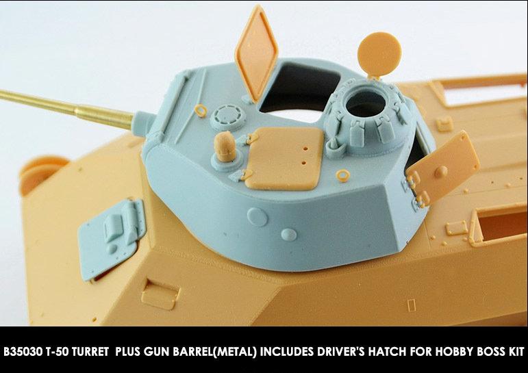 Miniarm 1/35 T-50 Turret + metal gun barrel + driver's hatch for HobbyBoss kit