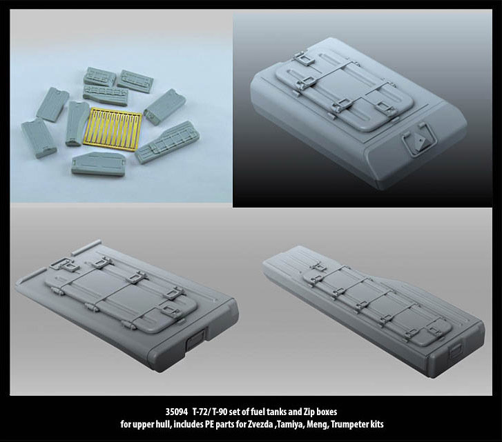 Miniarm 1/35 T-72/ T-90 fuel tanks & Zip boxes for upper hull + PE parts