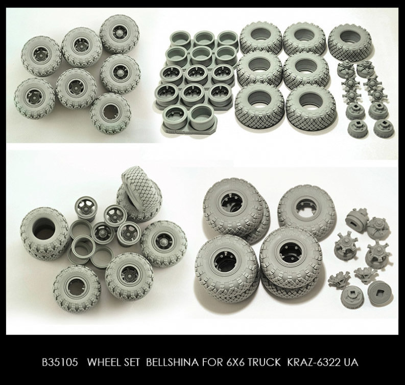 Miniarm 1/35 Wheel set Bellshina for KRAZ-6322 UA 6pcs plus extra