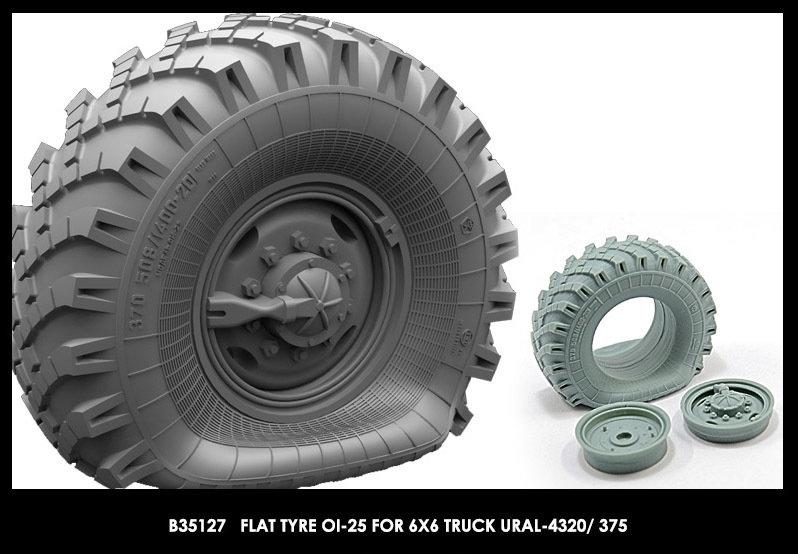 Miniarm 1/35 Flat tyre OI-25 for 6X6 Truck URAL-4320/ 375 (1pcs)