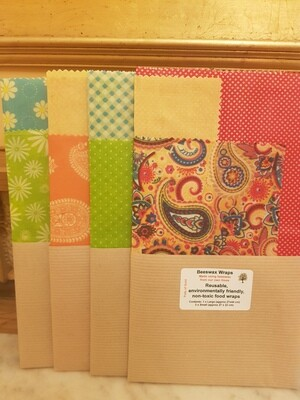 Beeswax Wraps - 1 Large & 2 Small