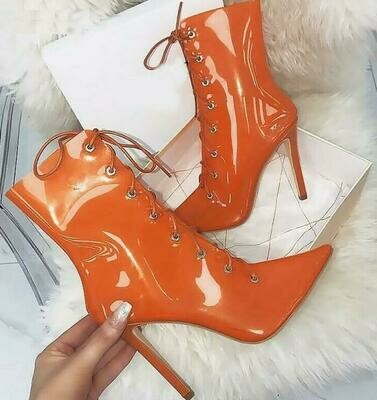 Orange Lace-Up Clear PVC High Heel Booties
