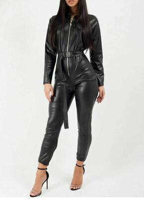 Black Faux Leather Utility Belt Jumpsuit