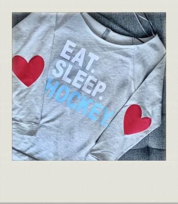 Eat sleep hockey raw neck pullover