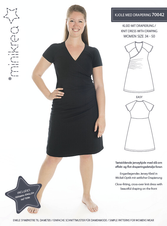 Sewing pattern for Knit Dress with Draping