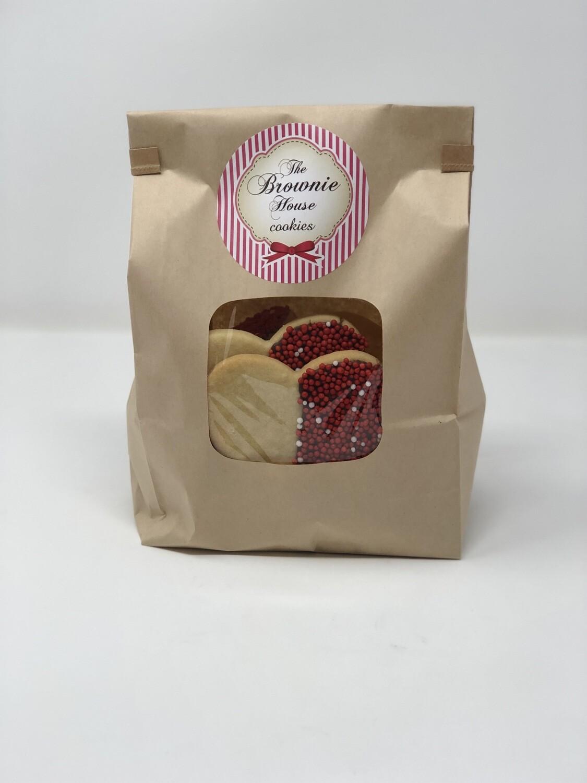 Bolsa Kraft con galletas de corazón San Valentín