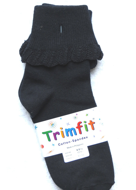Navy short sock ruffled cuff