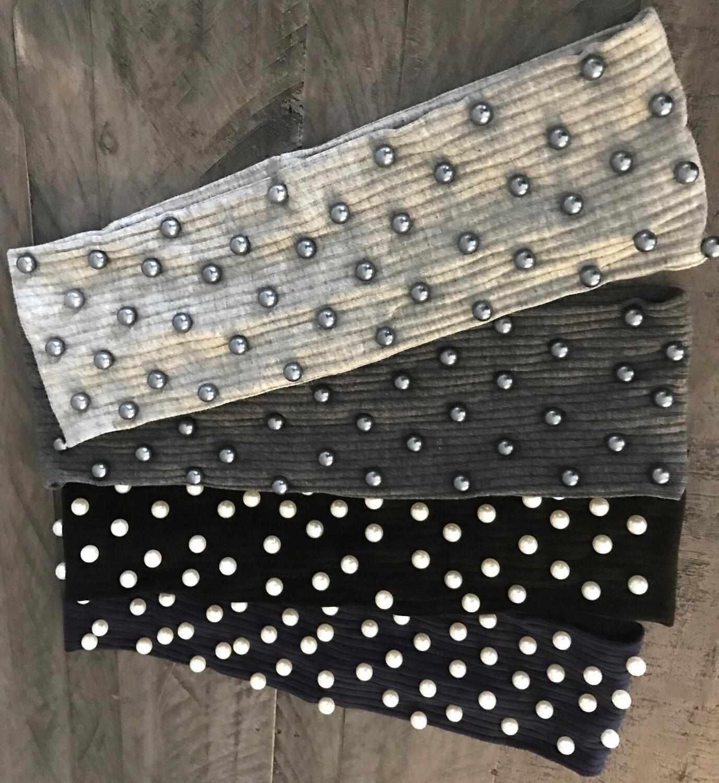 Flat narrower headband - All over pearls