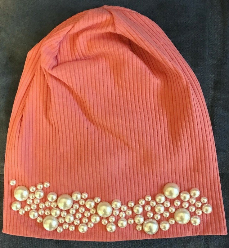 Salmon color ribbed beanie w/pearls