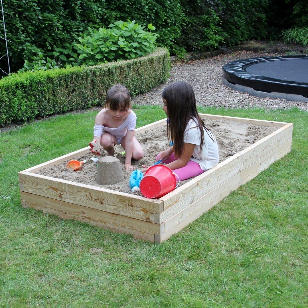 Modulaire houten zandbak XL | L 210 x B 107 x H 25 cm