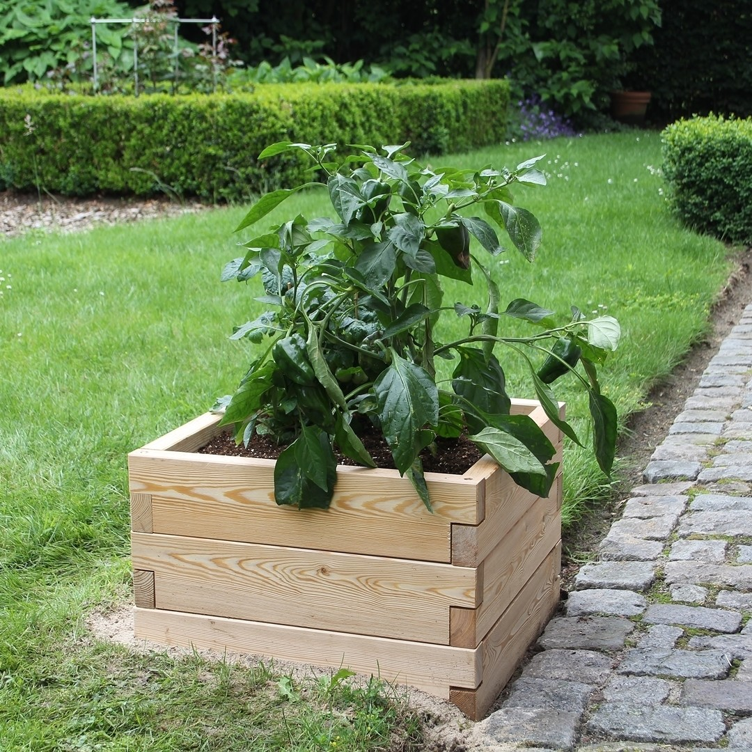 Modulaire houten plantenbak   L 57 x B 57 x H 25 cm