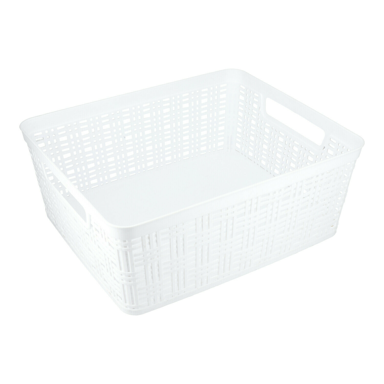 21618 Canasta tejida de plástico rectangular mediana blanca