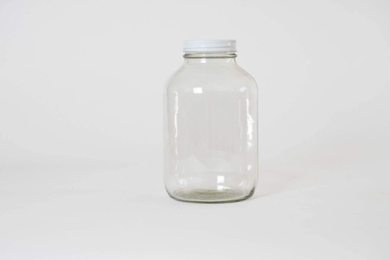 Frasco vidrio con tapa rosca blanca