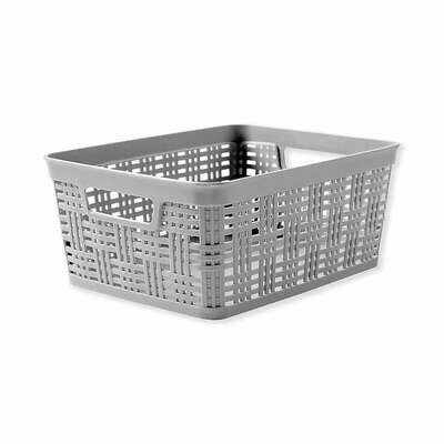 21615 Canasta  tejida de plástico rectangular chica gris