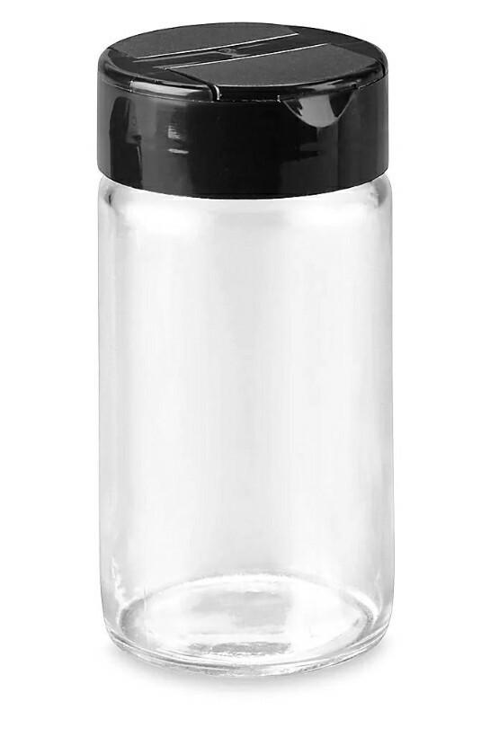 91171 Frasco especiero vidrio con tapa negra 4oz