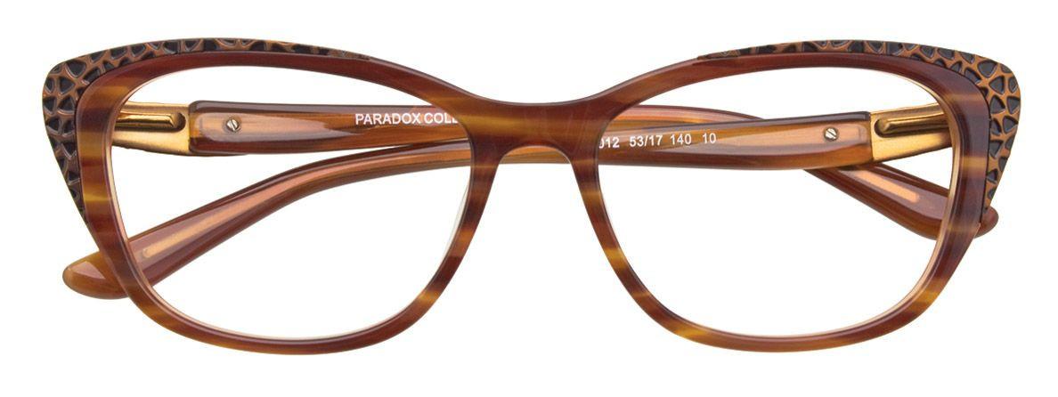 PARADOX COLLECTION Eyeglasses Frame P5012 Brown Marbled & Black 53-17-140