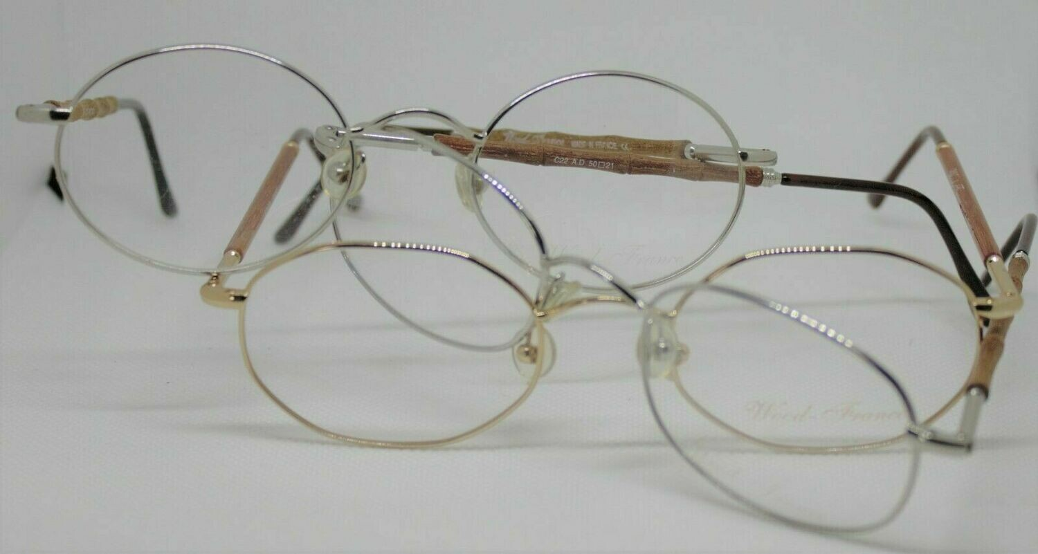 3 Pair of NEW Wood France eyeglasses Vintage gold, and 2 silver RARE
