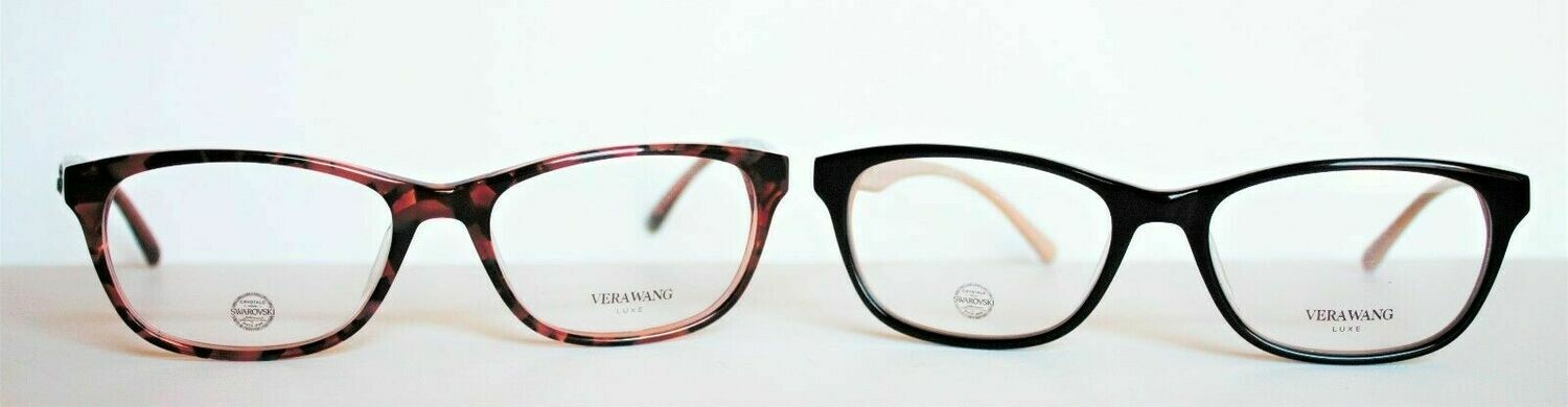 2 BRAND NEW 100% AUTHENTIC VERA WANG LAENE BLACK/CREAM & ROSE TORTOISE EYEGLASS