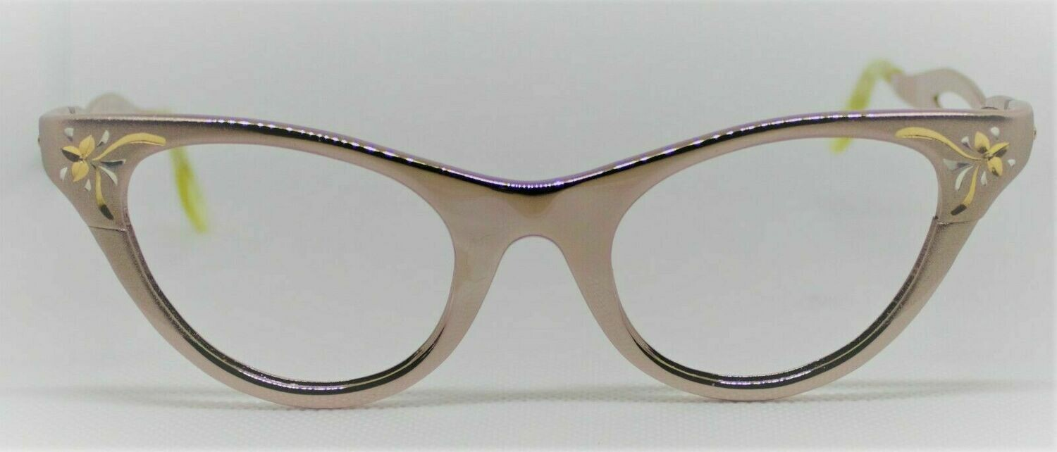 New American Optical Cat eye eyeglasses from 50's Shiny Rose New Old Stock