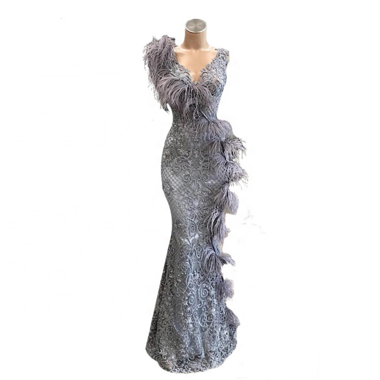 Lisa T Ostrich Feather Evening Gown