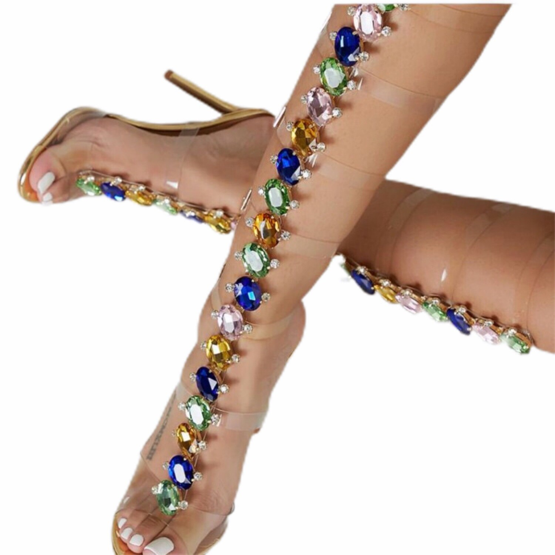 Luxury Multi-Color Gem High Heel Sandals