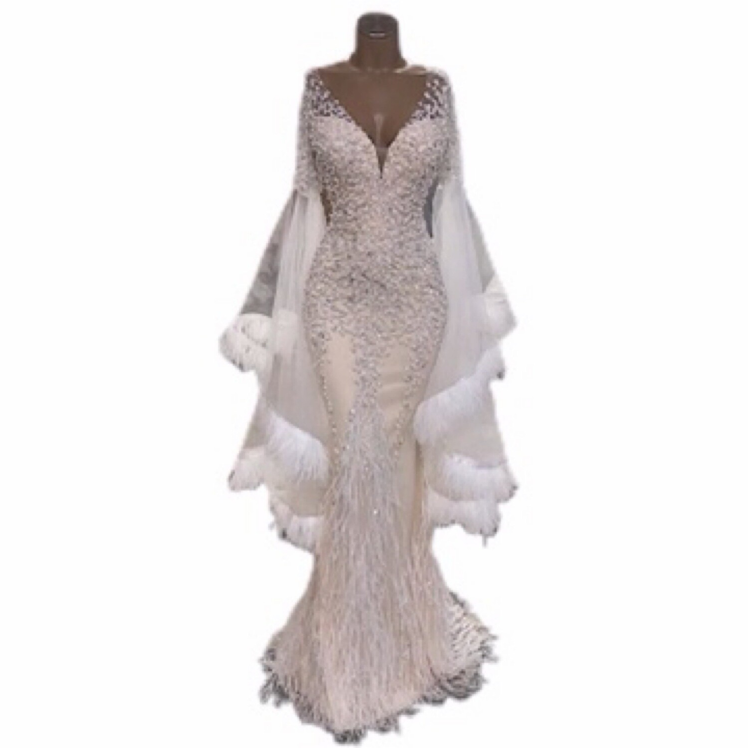 Lisa T Lace Beading Long Sleeve Evening Gown
