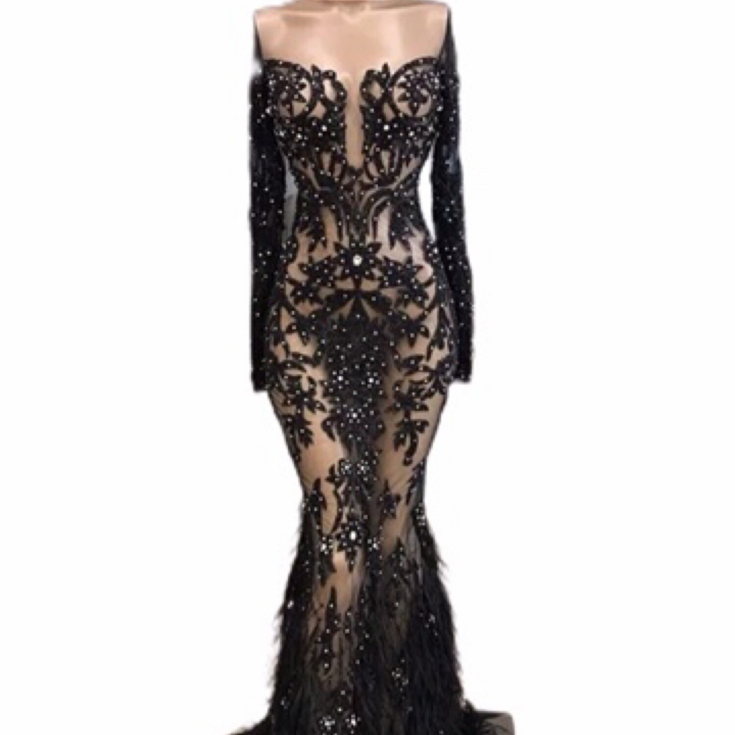 Lisa T Haute Couture Bodycon Evening Gown