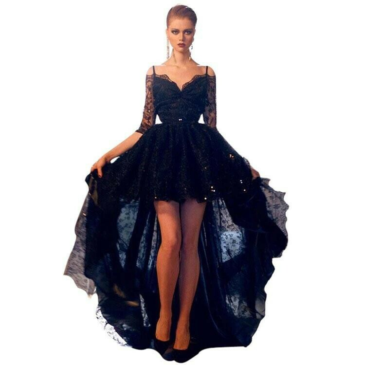 High Front and Low Back Evening Dress