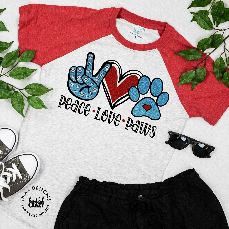 "Raglan: ""Peace Love Paws"""