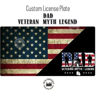 License Plate: DAD Veteran Myth Legend