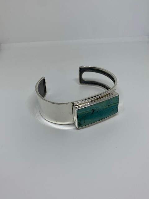 Heavy Solid Sterling Silver Turquoise Bracelet Bangle