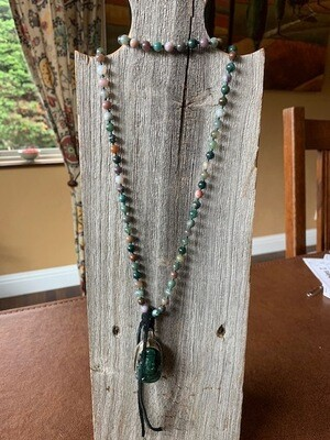 Tibetan Silver and Carved Green Jade Ganesh on Multi Color Gemstone Necklace
