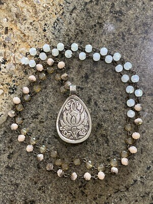 Tibetan Silver with pearl pendant and gemstone necklace