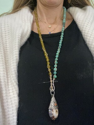 Tibetan Silver and Shell Pendant with turquoise and yellow crystal