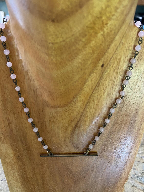 Brass Bar Pink Quartz Necklace
