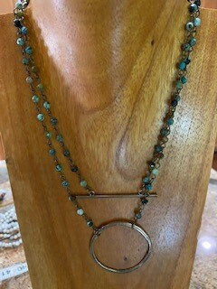 "Brass Bar Multi Color Gemstone Necklace 8"""