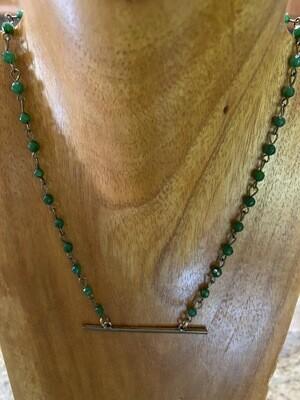 Brass Bar with Green Gemstone Necklace 8