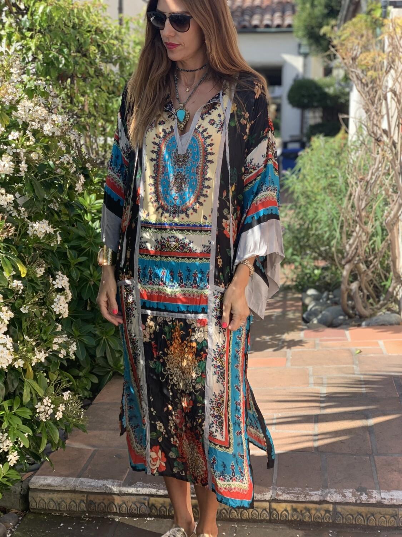 Johnny Was Silk Caftan Dress