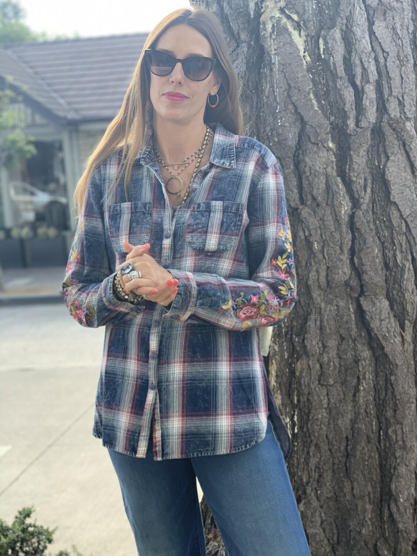 Aratta Plaid Button Up Blouse