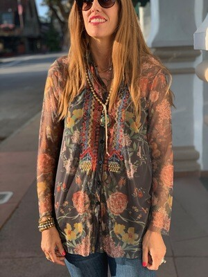 Johnny Was Biya Floral Mesh Embroidered Blouse