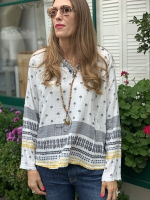 Johnny Was Embroidered Palm Tree Cotton Tunic Blouse Top