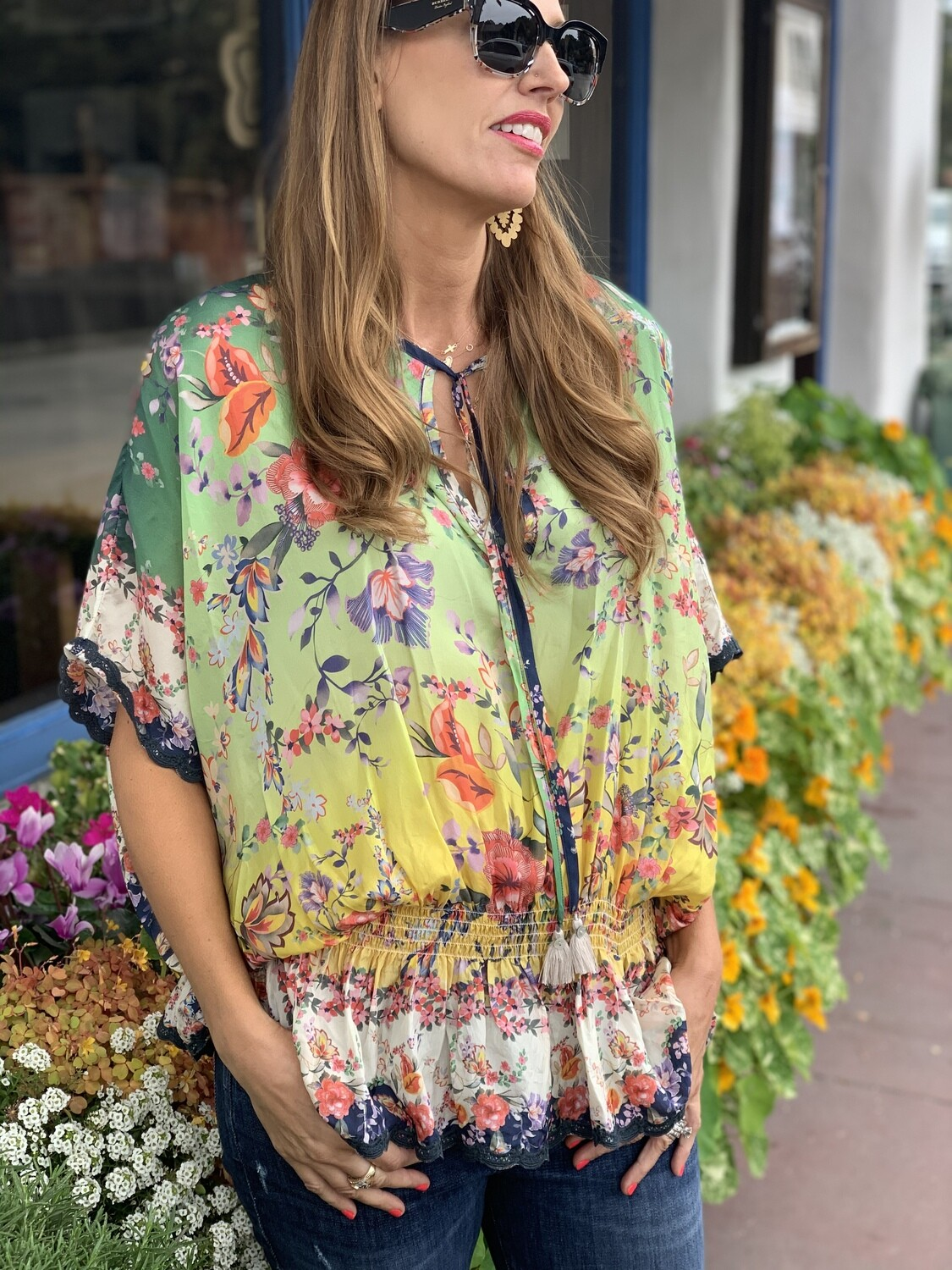 Johnny Was Silk Floral Cinched Blouse