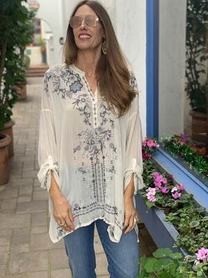 Johnny Was Blue & Gray Embroidered Tunic