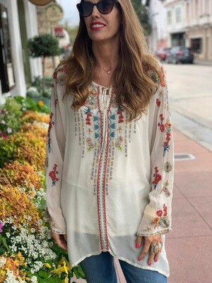 Johnny Was Cream Embroidered Tunic